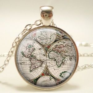 Jewelry - ✈️For Leanne✈️Earth Map Pendant in Silver Tones